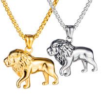 Wholesale Stainless Steel Men Fashion Animal Lion Pendant Necklace