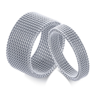 Wholesale Stainless Steel Wedding Bands Mesh Couple Rings