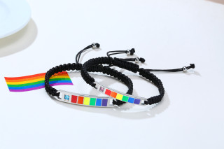 Wholesale Stainless Steel Braided Rainbow Pride Flag Bar Couple Bracelets