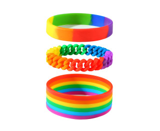 Wholesale Silicone Gay Pride Rainbow Wristbands Bracelet