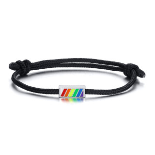 Wholesale Stainless Steel Rainbow Beads Rope Bracelet