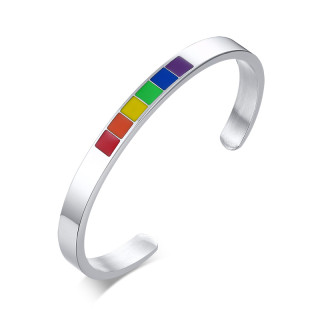 Wholesale Stainless Steel Enamel Rainbow Cuff Bracelet