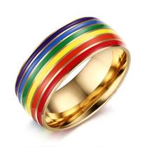 Wholesale Stainless Steel 8mm Enamel Rainbow LGBT Pride Ring