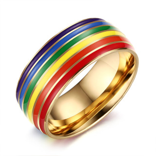 Wholesale Stainless Steel 8mm Enamel Rainbow LGBT Pride Ring