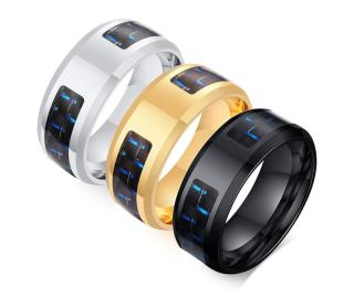 Wholesale Stainless Steel Personality Men's Blue & Black Carbon Fiber Ring