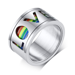 Wholesale Stainless Steel Spinner Rainbow Ring Hollow Love