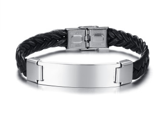 Wholesale Stainles Steel Leather ID Name Plate Braided Bracelet