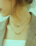 Wholesale Stainless Steel Korean Five-pointed Star Double Layer Necklace