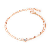 Wholesale Stainless Steel Charm Double Chain CZ Anklet