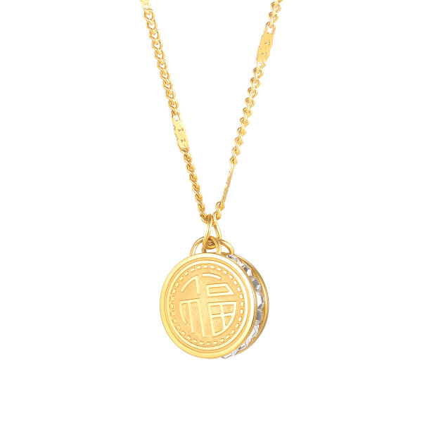 Wholesale Stainless Steel Chinese Blessinng Pendant with CZ