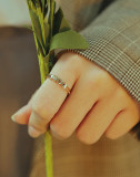 Wholeale Stainless Steel CZ Sparkling Love Ring Rose Gold