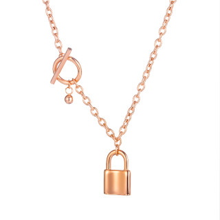 Wholesale Stainless Steel T-Bar & Lock Pendant Necklace
