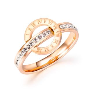 Wholesale Stainless Steel Roman Numeral Geometric Round Zircon Ring