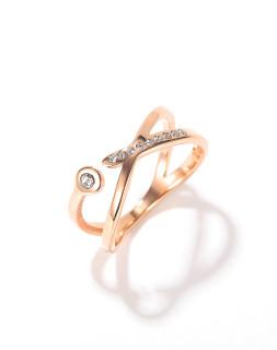 Wholesale Stainless Steel Hollow Cross X Shape Zircon Ring