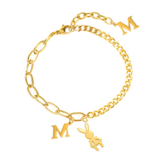 Wholesale Stainless Steel Personalized Carbine Chain Bracelet with Initial M