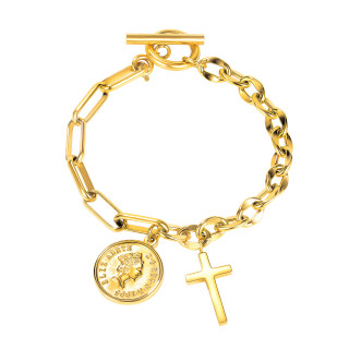 Wholesale Stainless Steel Cross OT Buckle Toggle Bracelet
