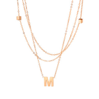 Wholesale Stainless Steel Initial M Multi Layer Necklace