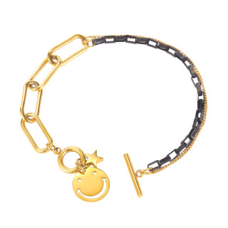 Wholesale Stainless Steel Cool Girl Smile Chain Bracelet