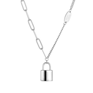 Wholesale Stainless Steel Lock Paperclip Chain Necklace