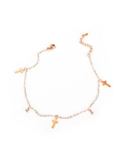 Wholesale Stainless Steel CZ and Cross Charm Anklet