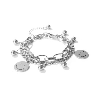 Wholesale Stainless Steel Multi-layer Charm Smile Bracelet