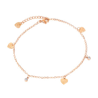 Wholesale Stainless Steel Women Smiley Face Heart Anklet