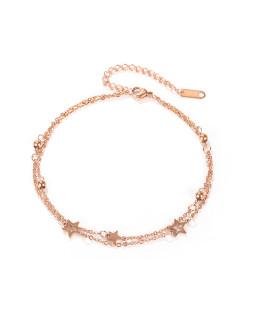 Wholesale Stainless Steel Rose Gold Double Anklet Stars