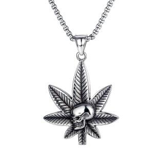 Wholesale Stainless Steel Marijuana Leaf Skull Head Necklace