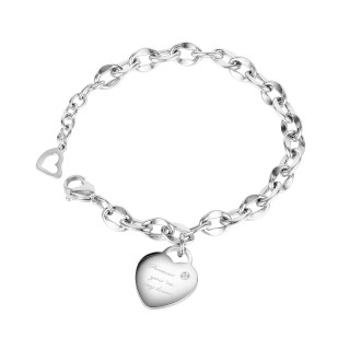 Wholesale Stainless Steel Bean Chain Bracelet with Heart