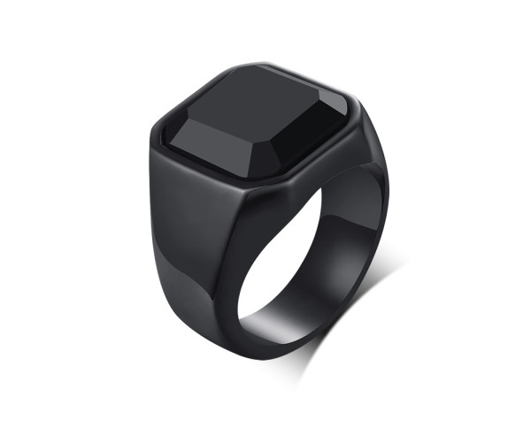 Wholesale Steel Black Agate Stones Band Ring