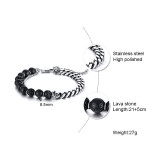 Wholeale Stainless Curb Chain and Lava Rock Beads Bracelet