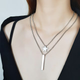 Wholesale Steel Multi Layer Star Bar Necklace