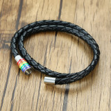 Wholesale Stainless Magnetic Clasp Rainbow Leather Bracelet