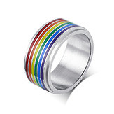 Wholesale Stainless Steel Rainbow Spinner Ring