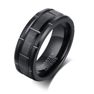 Wholesale Wheel Groove Brushed Surface Tungsten Band