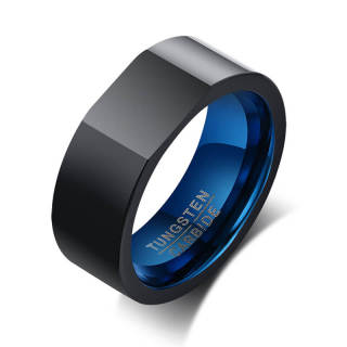 Wholesale Tungsten Carbide Black Blue Signet Ring