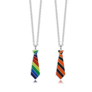 Wholesale Steel Rainbow Tie Pendant Necklace