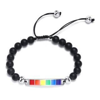 Wholesale Steel Curved Rectangula Pride Beads Bracelet