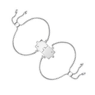 Wholesale Steel Personalized Puzzle Couple Bracelets