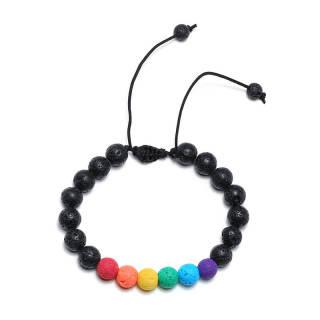 Wholesale Rainbow Bead Bracelet Lava Stone/ White Turquoise