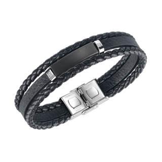 Wholesle Steel Men's Personalised Black Layered Leather Bracelet