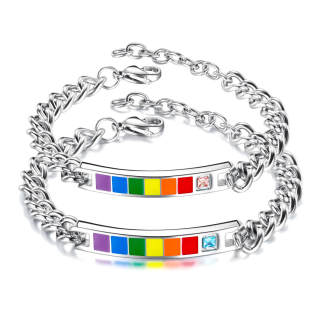 Wholesale Stainless LGBT Pride Couple Bracelet with CZ
