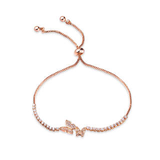 Wholesale Rose Gold Butterfly Copper Bracelet With CZ