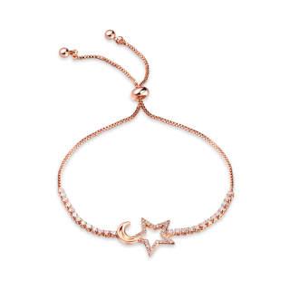 Wholesale Adjustable Star & Moon Copper Bracelet with CZ