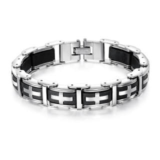 Wholesale Stainless Mens Steel & Silicone Cross Bracelet
