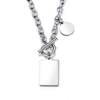 Wholesale Stainless Steel Engraved Dog Tag T Bar Necklace