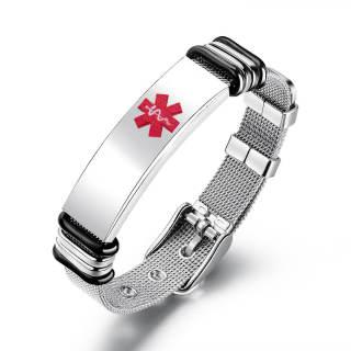 Wholesale Mesh Adjustable Engraving Medical ID Bracelet
