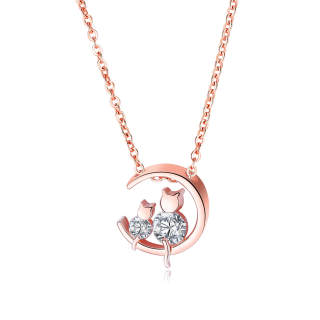 Wholesale Copper Mother and Baby Cat Moon Pendant