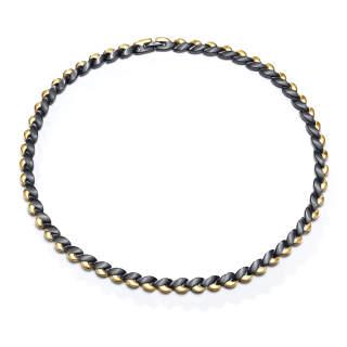 Wholesale Men's Gold Black Titanium Magnetic Therapy Necklace