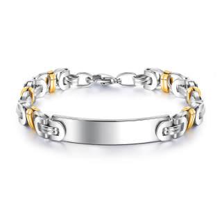 Wholesle Stainless Steel Mens Gold Silver Byzantine Bracelet